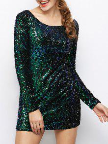 Sequin Sparkly Round Neck Bodycon Dress - Vert M