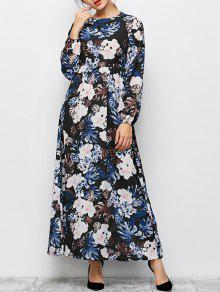 Printed Maxi Boho Dress - Black S
