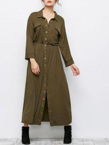 Maxi Single Breasted Military Shirt Dress - Army Green 2xl