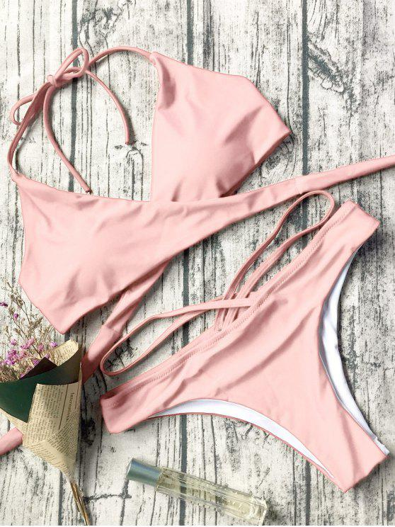 women Double Side Crossover Bikini Swimwear - PINK S