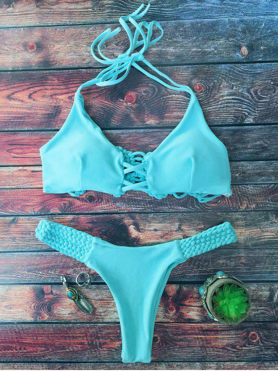Juego de Bikini Cami con Adornos Trenzados y Corte de Pierna Alta - Lago verde S