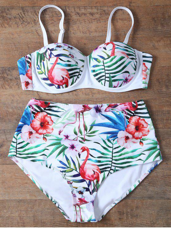 Empuja hacia arriba el Impreso de talle alto Bikini Set - Blanco M
