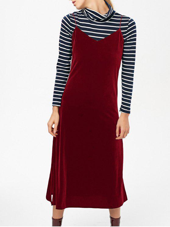 hot Side Slit Velvet Cami Dress - BURGUNDY L