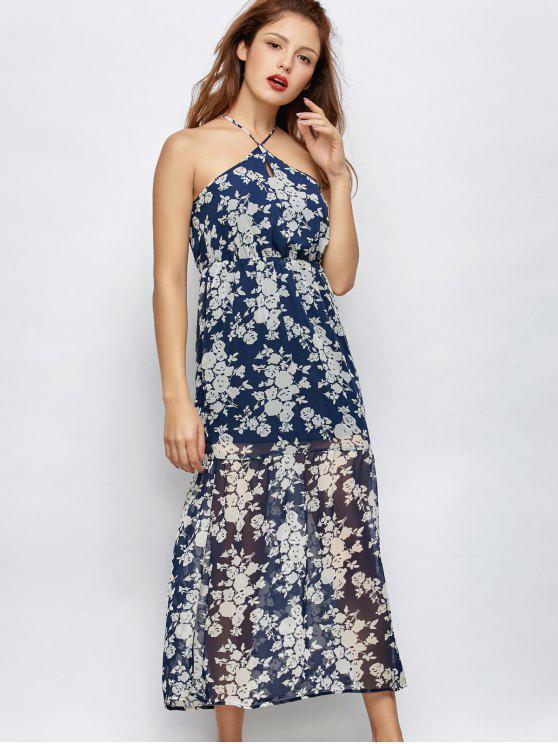 Floral de la playa vestido maxi - Azul L