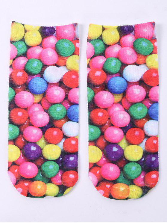women One Side 3D Round Sweets Printed Crazy Ankle Socks - COLORFUL