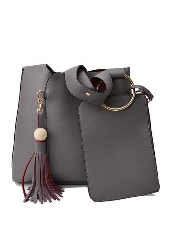 fashion Wood Ball Tassel Shoulder Bag With Wristlet - GRAY