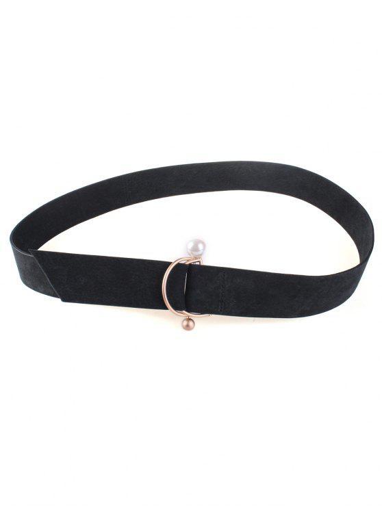 ladies D Buckle Faux Suede Waist Belt - BLACK
