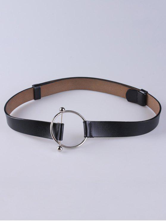 Hebilla redonda de cuero de imitación Cinturón ancho - Negro
