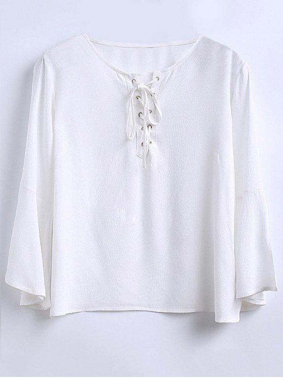 36d94702863e84 23% OFF] 2019 Ruffled Sleeve Flowy Chiffon Top In WHITE | ZAFUL
