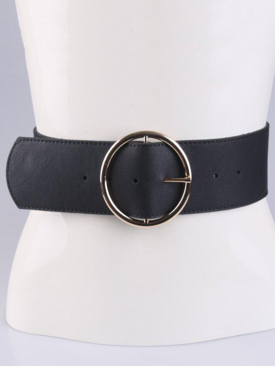 shops Round Pin Buckle Elastic Wide Belt - BLACK