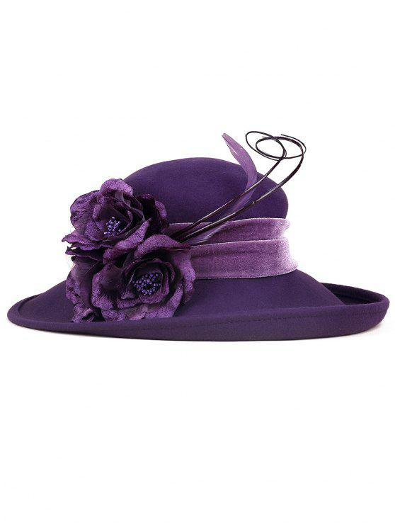 sale Feather Flower Strappy Church Hat - PURPLE