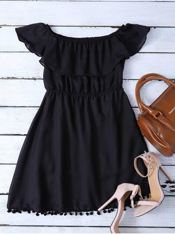 Ruffles Mini Off The Shoulder Dress - Negro S