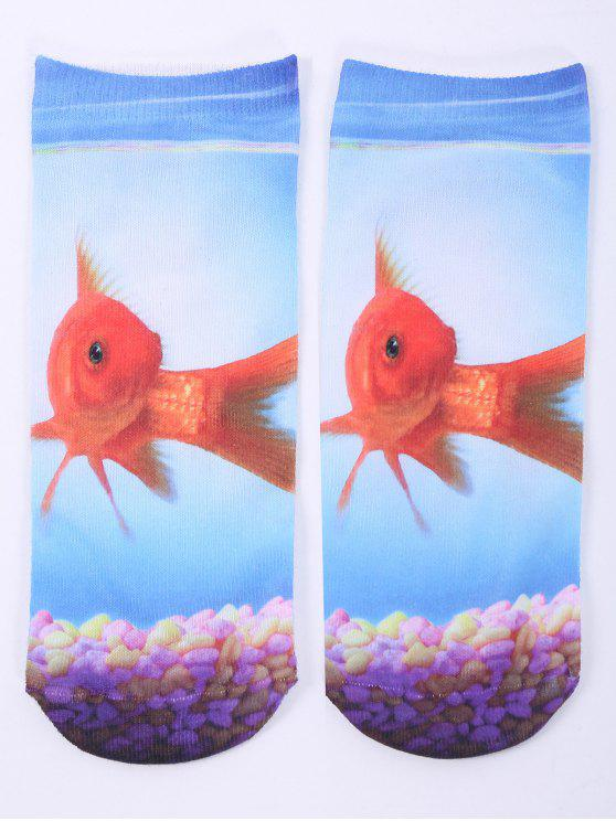 women's One Side 3D Goldfish Printed Crazy Ankle Socks - CLOUDY