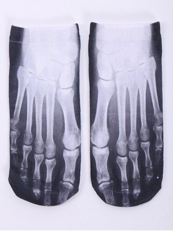 جانب واحد 3d القدم الهيكل العظمي مطبوعة مجنون الكاحل الجوارب - أبيض