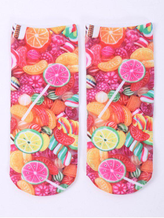 best One Side 3D Fruit Candy Printed Crazy Ankle Socks - COLORFUL