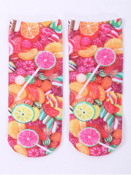 Meias curtas com impresso de frutas - COLORIDO
