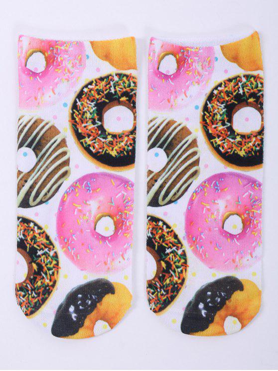 online One Side 3D Donuts Printed Crazy Ankle Socks - WHITE