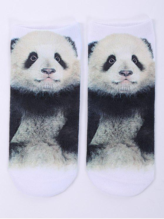outfit One Side 3D Panda Baby Printed Crazy Ankle Socks - WHITE