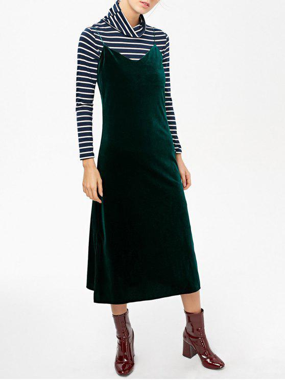La raja del lado del vestido de terciopelo Cami - Verde negruzco L