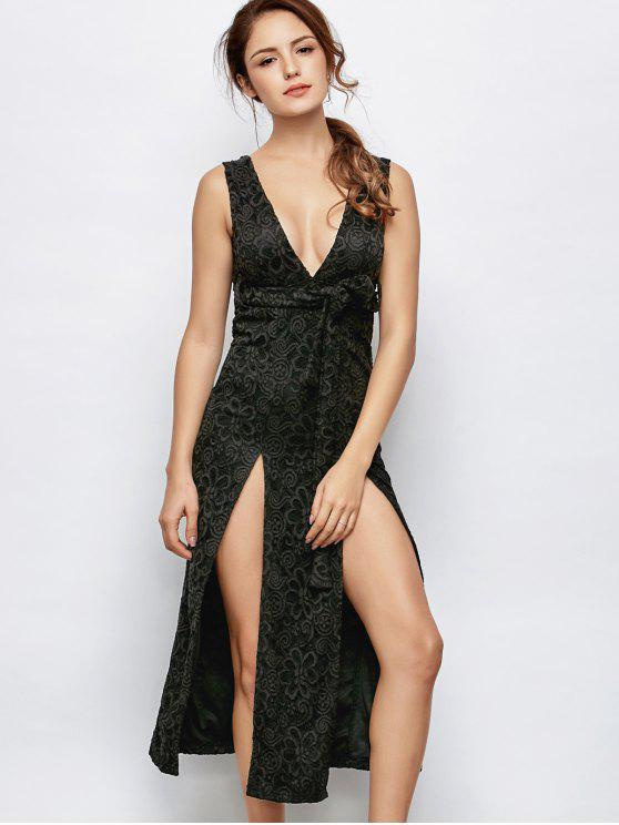 shop Low Cut Lace Plunge Empire Waist Prom Dress - BLACK M