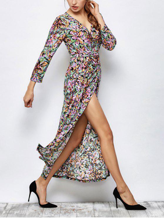 ماكسي طباعة التفاف اللباس - متعدد الألوان L