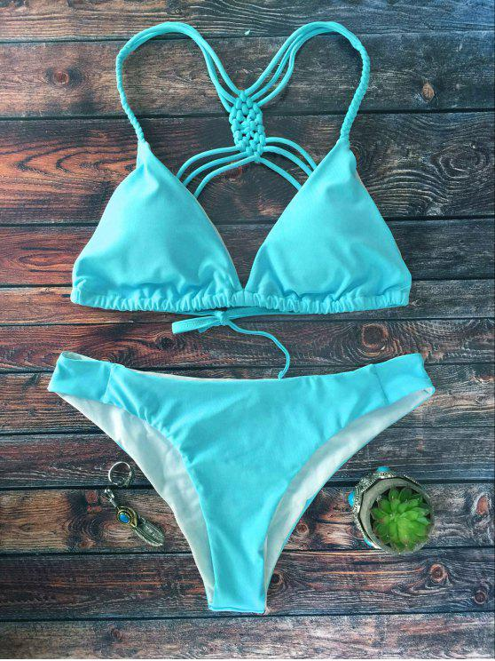 Crosscriss tiras del bikini Set - Azul L