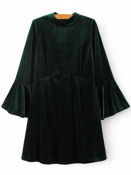 Vestido de terciopelo con mangas de campana - Verde negruzco S