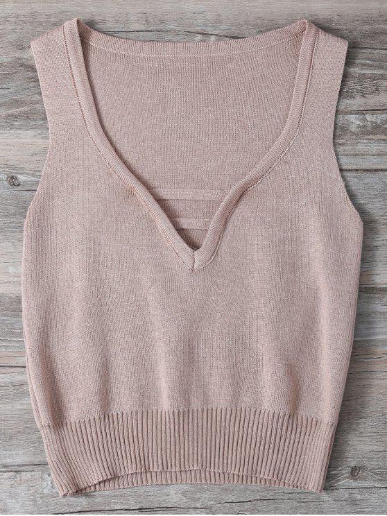 V cuello del suéter sin mangas - Rosado Claro Única Talla