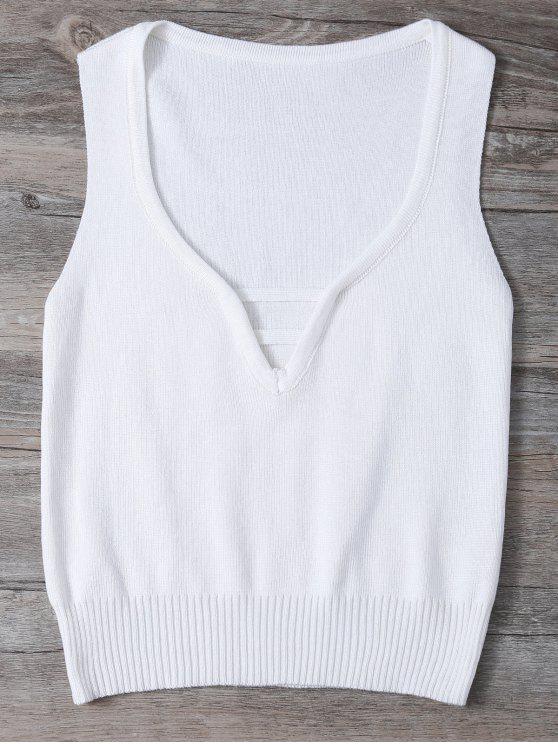 V cuello del suéter sin mangas - Blanco Única Talla