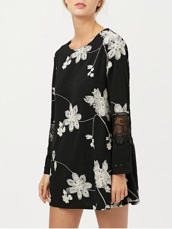 robe Fleurie et brodée en mousseline de soie avec empiècements en dentelle - Noir XL