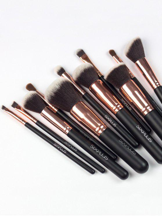 shop 11 Pcs Nylon Makeup Brushes Kit - DEEP BROWN