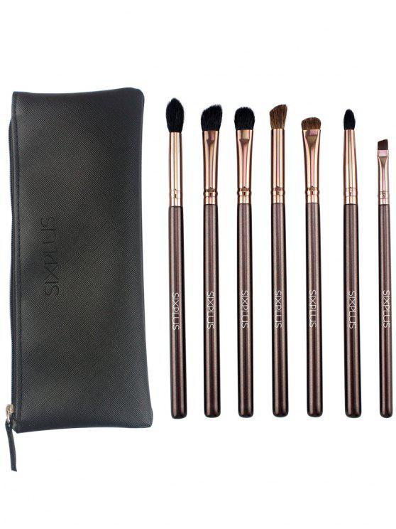 latest 7 Pcs Eye Makeup Brushes Kit - COFFEE