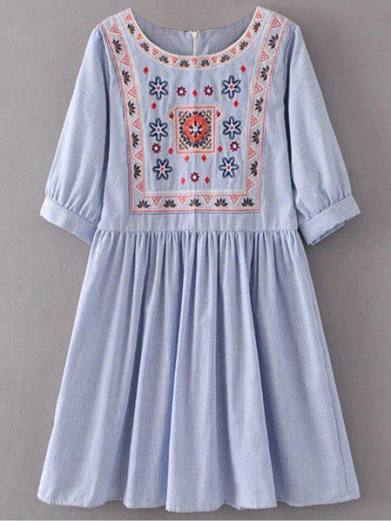 fashion Striped Embroidered Smock Mini Dress - LIGHT BLUE M