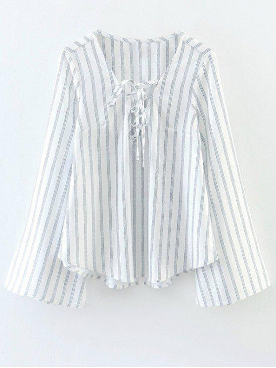 latest Striped Lace Up Flare Sleeve Blouse - WHITE M