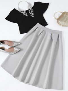 Cropped Tee And Midi Flare Skirt - Black And Grey S