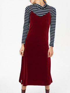 Side Slit Velvet Cami Dress - Burgundy L