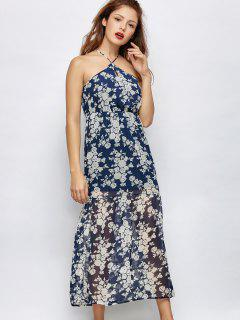 Floral De La Playa Vestido Maxi - Azul M