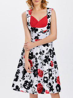 Vest Floral Printed Midi Swing Party Dress - White S