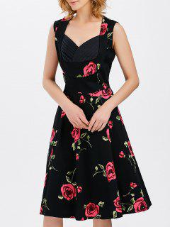 Vest Floral Printed Midi Swing Party Dress - Red With Black L