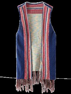 Chaleco De Punto Con Borlas - Azul
