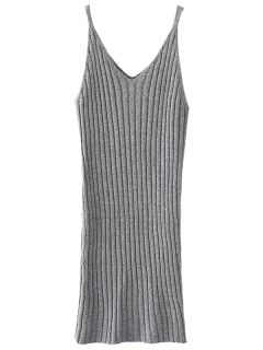 Knitted Tank Dress - Light Gray
