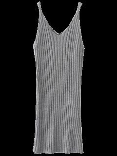 Robe Débardeur En Tricot - Gris Clair