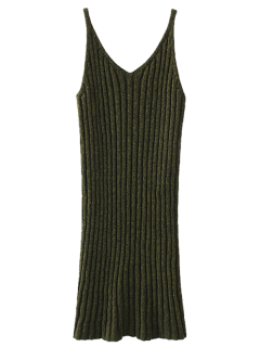Knitted Tank Dress - Army Green