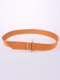 D Buckle Faux Suede Waist Belt - Orange