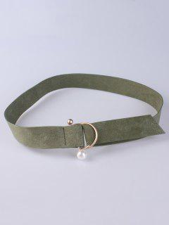 D Buckle Faux Suede Waist Belt - Army Green