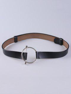 Round Buckle Faux Leather Wide Belt - Black