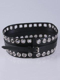 Hollow Studs PU Leather Wide Belt - Black