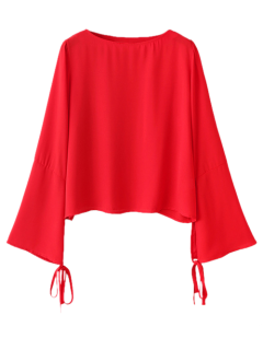 Flared Manches Flowy Chiffon Top - Rouge
