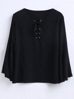Ruffled Sleeve Flowy Chiffon Top - Black L