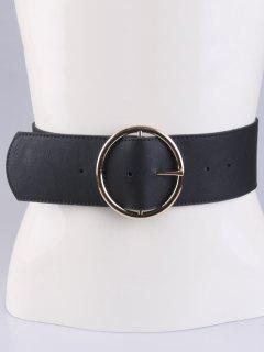 Round Pin Buckle Elastic Wide Belt - Black